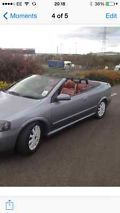 2004 VAUXHALL ASTRA CONV TURBO SILVER RED LEATHER