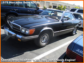 Rare Classic 1979 Mercedes Benz 450SL. Two Tops + Needs Engine! + LOW RESERVE!